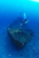 Shipwreck MV Cominoland + scuba diver, Gozo, Malta