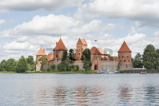 Trakai Castle on Lake Galve (Lithuania).