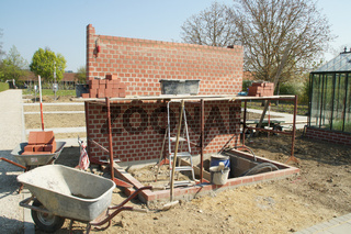 Gewächshausbau, Ziegelmauer, building a greenhouse
