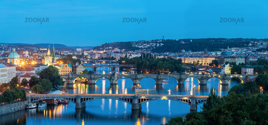 Panorama Prague at dusk