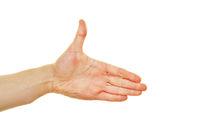 Hand reichen im Profil