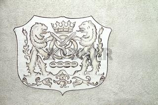 Wappen an einer Bäckerei in Wöbbel