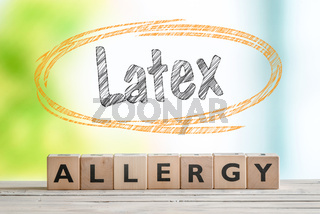 Latex allergy sign with text in a sketch circle
