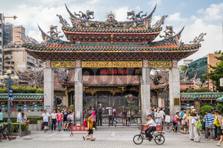 Gate to Longshan Buddhist temple in Taipei city, Taiwan