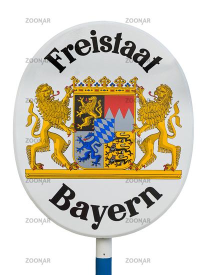 Sign free state Bavaria