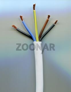 Weißes Kabel mit fünf unterschiedlich gefärbten Drähten und kupfernen Litzen