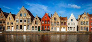 European town Bruges medieval houses and canal, Belgium