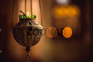 icon lamp in church