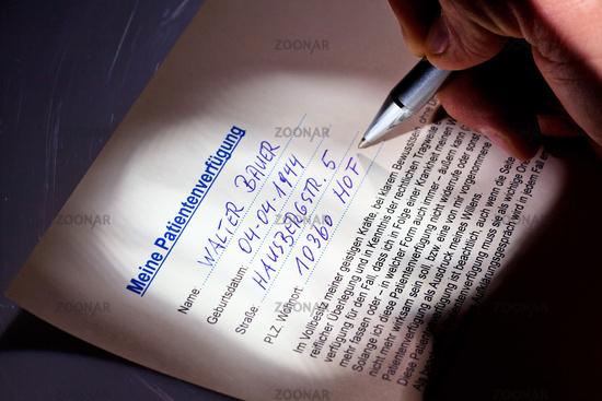 Patient decree is written