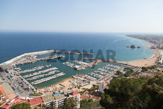 View of the port in Blanes Costa Brava from high above