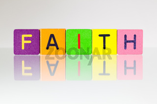 Faith - an inscription from children's blocks