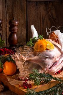 Raw goose in marinade