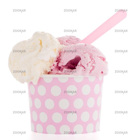 Ice cream scoop in paper cup