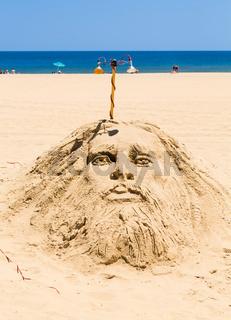 Religious sand sculpture in Ocean City