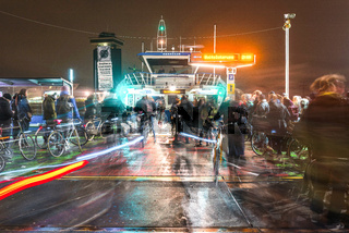 Cyclists board ferry from Central Station, Amsterdam, Netherlands, Europe