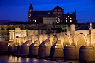 Roman Bridge and Mezquita in Cordoba at Dawn