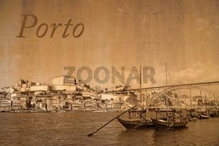Postkarte der Stadt Porto, Portugal, im Vintage Look