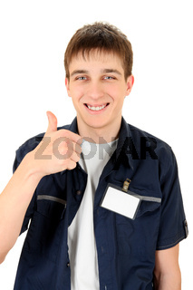 Teenager with a Blank Badge