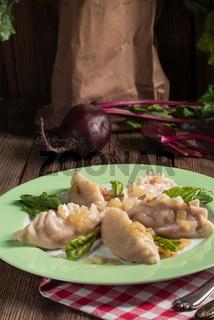 piquant pierogi with Beetroot and cheese filling