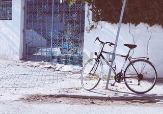 Vintage bicycle in the street of Tunis