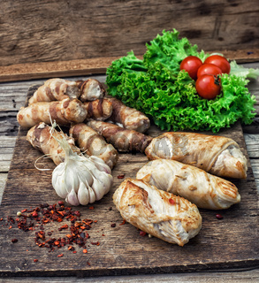 set fried meat sausages on wooden background
