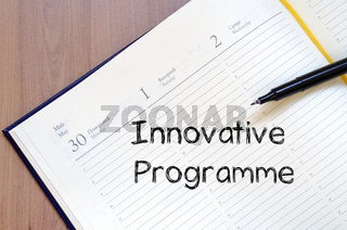 Innovative programme write on notebook
