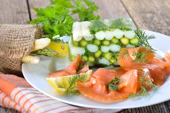 Asparagus jelly with salmon
