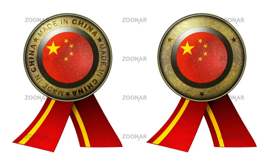 Set of 2 China seals Made in message and blank