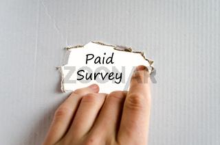 Paid survey text concept