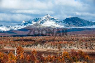 Autumn in Patagonia. Cordillera Darwin, part of Andes range, Tierra del Fuego, Argentina