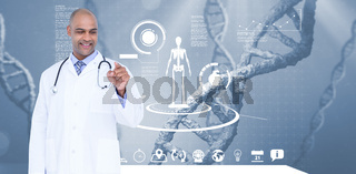 Smiling male doctor touching invisible screen