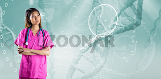Composite image of asian nurse crossing arms
