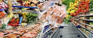 Gemüse, Fleisch und Fisch im Supermarkt