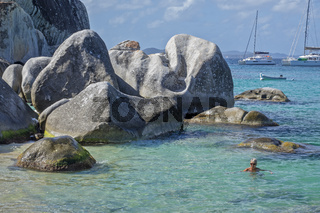 Swimmer At The Baths National Park Virgin Gorda British Virgin Islands West Indies