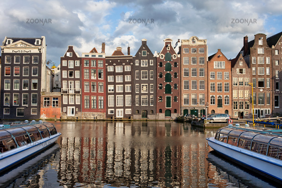City of Amsterdam at Sunset in Netherlands