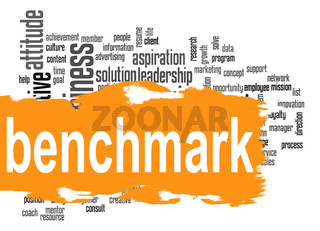 Benchmark word cloud with orange banner