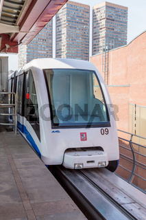 Moscow monorail fast train on railway