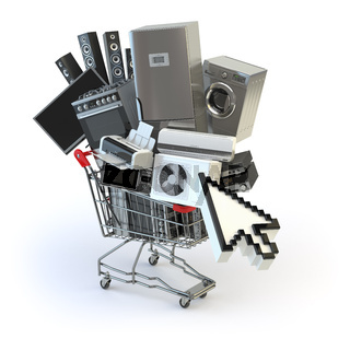 Home appliances in the shopping cart and cursor. E-commerce or online shopping concept.