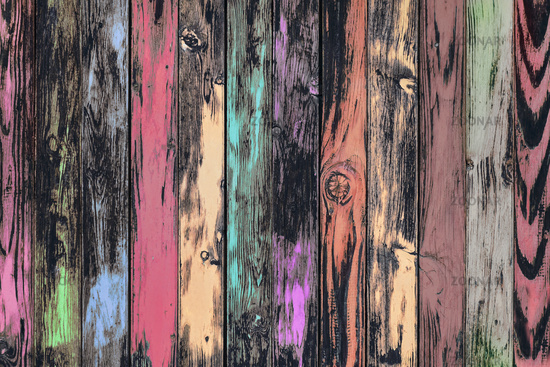 Weathered multicolored board wall