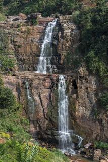 Ramboda waterfall in tea country, Sri Lanka