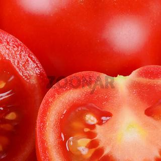 The red fresh tomatoes cut. Macro