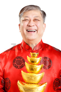 old man with mandarin in chinese new year