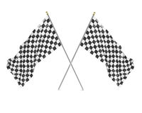 Black and White racing flag isolated on a white background with shadows.