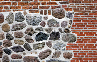 Stone wall made of erratics and bricks, Lower Saxo