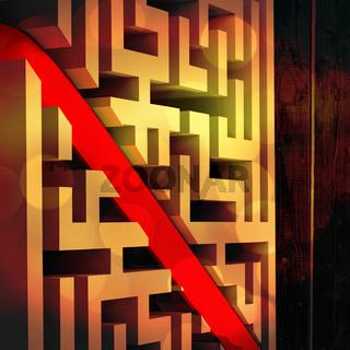 Composite image of line through maze