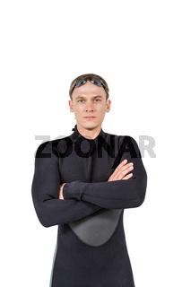 Portrait of swimmer in wetsuit