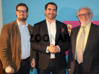 Jörg Schnurre,Frank Sitta(FDP Sachsen-Anhalt) und Schauspieler Dieter Hallervorden bei FDP Dessau