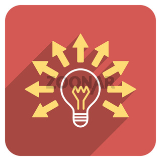 Electric Light Flat Rounded Square Icon with Long Shadow
