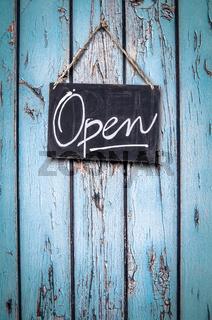 Rustic Beachfront Store Open Sign