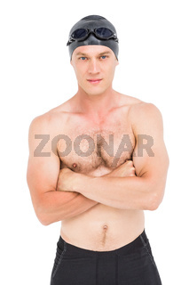 Portrait of swimmer posing with arms crossed